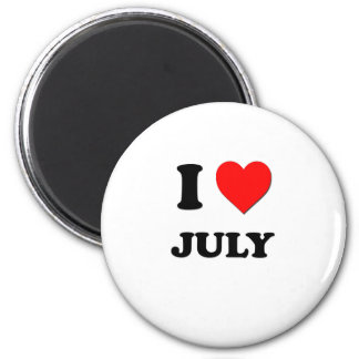 I Heart July 2 Inch Round Magnet