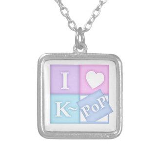 I Heart K~Pop Square Pendant Necklace