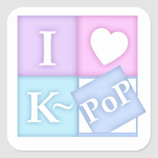 I Heart K~Pop Square Sticker