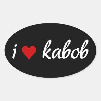 I heart kabob I love kabob Oval Sticker