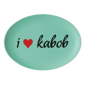 I heart kabob I love kabob Porcelain Serving Platter