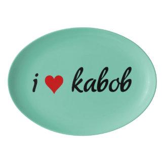 I heart kabob I love kabob Porcelain Serving Platter