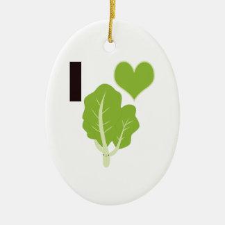 I heart Kale Ceramic Ornament