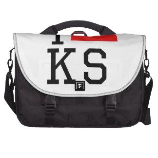 I Heart Kansas Laptop Messenger Bag