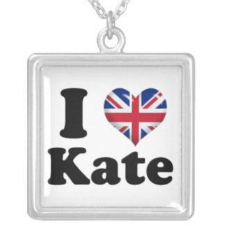 I Heart Kate Square Pendant Necklace