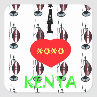 I Heart Kenya XOXO Square Sticker