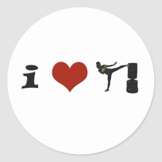 I Heart Kickboxing! Personalize it! Classic Round Sticker