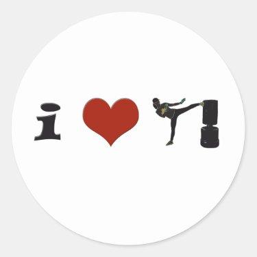 I Heart Kickboxing! Personalize it! Sticker