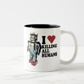 I Heart Killing All Humans Two-Tone Coffee Mug