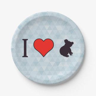 I Heart Koalas Paper Plate