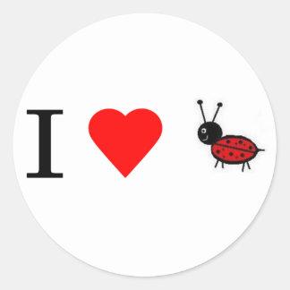 I heart lady bugs classic round sticker
