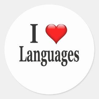 I heart Languages Classic Round Sticker