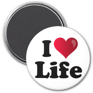I Heart Life 3 Inch Round Magnet