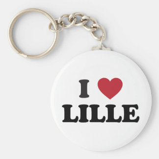 I Heart Lille France Basic Round Button Keychain
