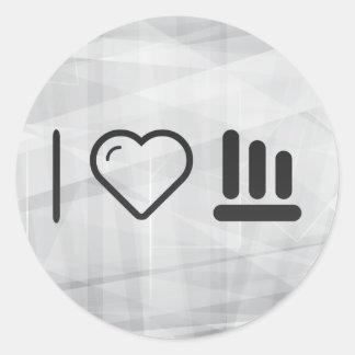 I Heart Line Charts Classic Round Sticker