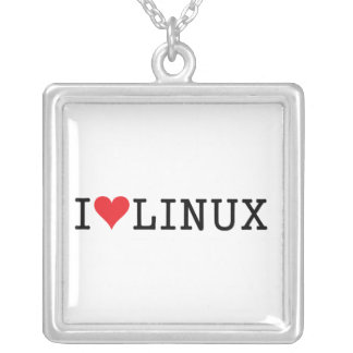 I Heart Linux 2 Square Pendant Necklace