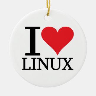 I Heart Linux Ceramic Ornament