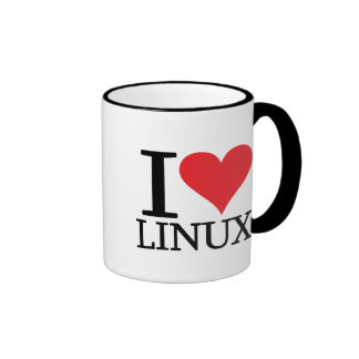 I Heart Linux Ringer Coffee Mug