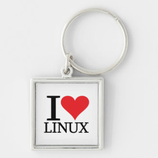 I Heart Linux Silver-Colored Square Keychain