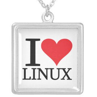 I Heart Linux Square Pendant Necklace