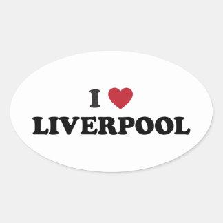 I Heart Liverpool England Oval Sticker