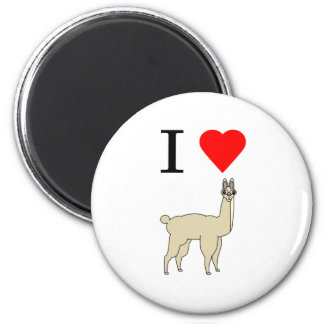 i heart llama 2 inch round magnet