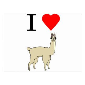 i heart llama postcard