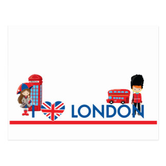 I Heart London With Phone Booth Bus and More Postcard
