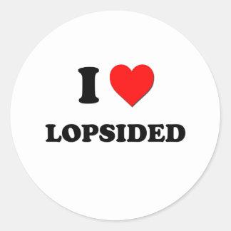 I Heart Lopsided Round Sticker