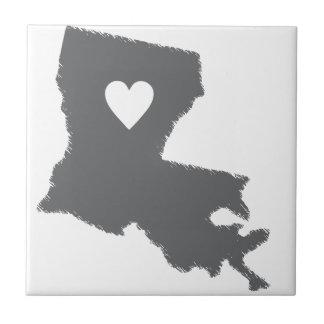 I Heart Louisiana Grunge Look Outline State Love Ceramic Tiles