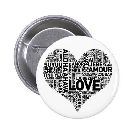 I HEART LOVE 2 INCH ROUND BUTTON