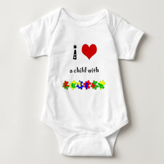 I Heart (Love) a Child with Autism Baby Bodysuit