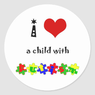 I Heart (Love) a Child with Autism Classic Round Sticker
