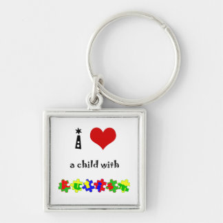 I Heart (Love) a Child with Autism Keychain