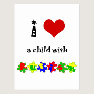 I Heart (Love) a Child with Autism Postcard