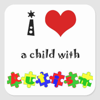 I Heart (Love) a Child with Autism Square Sticker