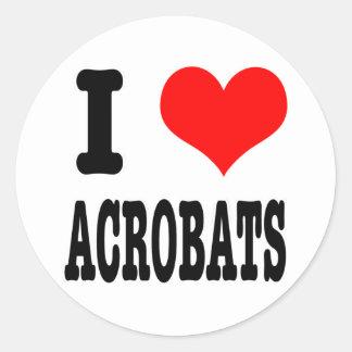 I HEART (LOVE) ACROBATS CLASSIC ROUND STICKER