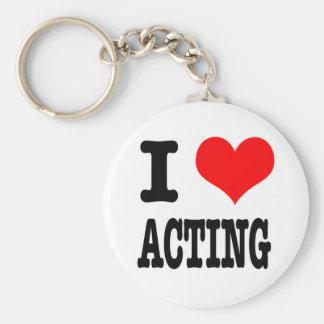 I HEART (LOVE) ACTING BASIC ROUND BUTTON KEYCHAIN