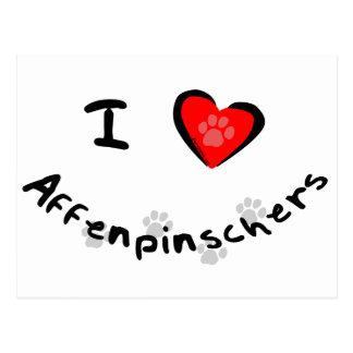 I Heart (Love) Affenpinschers Postcard