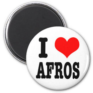 I HEART (LOVE) AFROS 2 INCH ROUND MAGNET