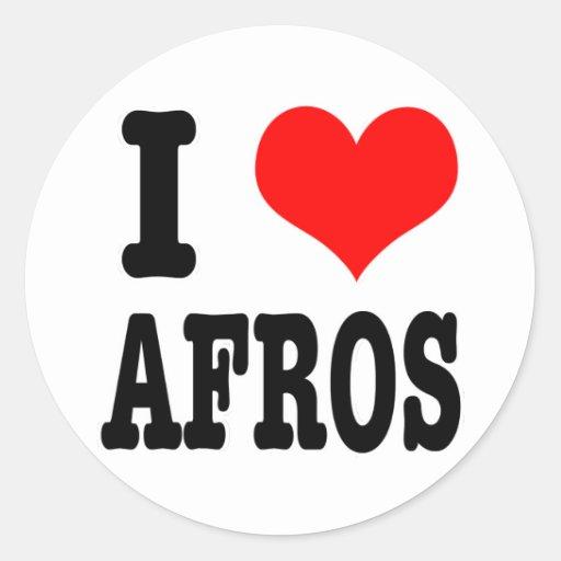 I HEART (LOVE) AFROS CLASSIC ROUND STICKER