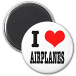 I HEART (LOVE) AIRPLANES 2 INCH ROUND MAGNET
