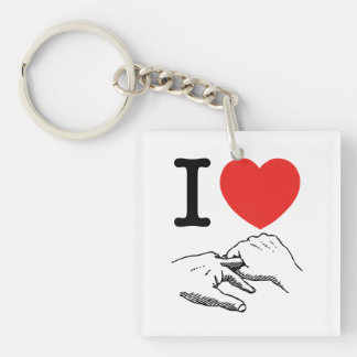 I Heart (Love) Anal Double-Sided Square Acrylic Keychain