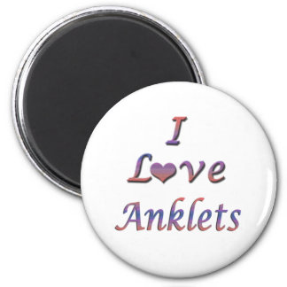 I Heart (Love) Anklets 2 Inch Round Magnet