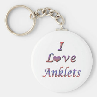 I Heart (Love) Anklets Basic Round Button Keychain