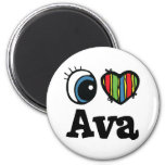 I Heart (Love) Ava 2 Inch Round Magnet