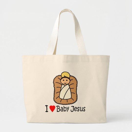 I Heart (Love) Baby Jesus Large Tote Bag