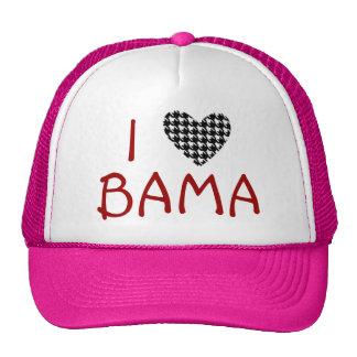 I Heart Love Bama Hat- Alabama Houndstooth Pink Trucker Hat