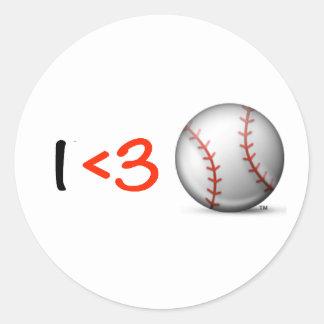 I heart & love baseball classic round sticker