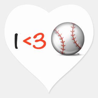 I heart & love baseball heart sticker